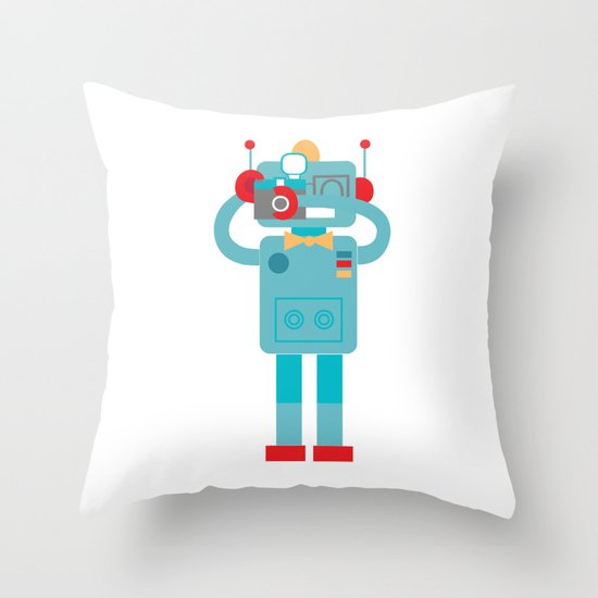 Robot loves Diana Throw Pillow