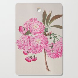 Barrier Mountain Cherry Blossoms Watercolor Cutting Board