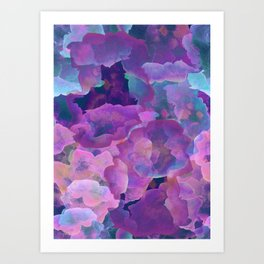 Purple, teal and blue abstract watercolor clouds Art Print
