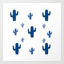 Blue Cactus Pattern Art Print