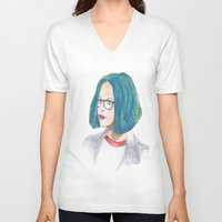 ghost world V-neck T-shirts featuring Ghost World by holy crow