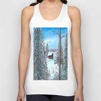 cabin Tank Tops featuring Winter Cabin by Connie Campbell