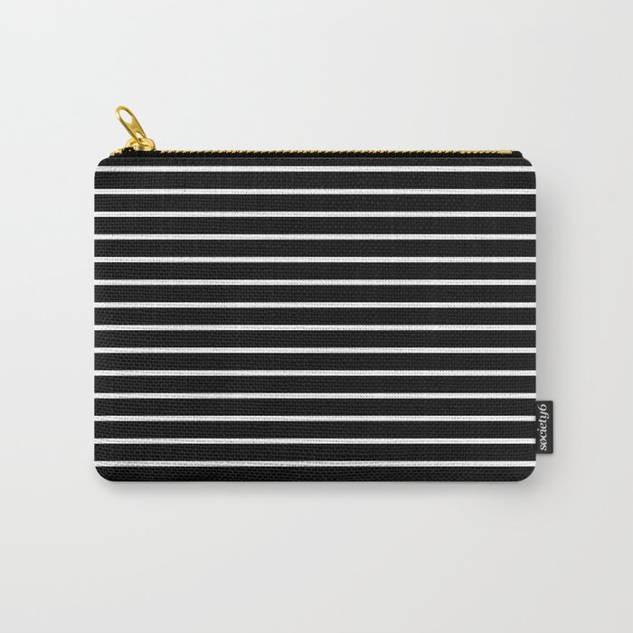 Horizontal Lines (White/Black) Carry-All Pouch
