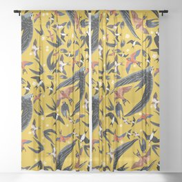 Swallows Martins and Swift pattern Yellow Sheer Curtain