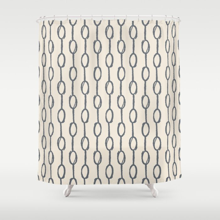 Pebble Dot Stripes Gray On Rose Petal Cream Shower Curtain
