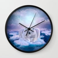 mandie manzano Wall Clocks featuring Power Is No Blessing In Itself (Be COOL - Protect the Planet)  by soaring anchor designs