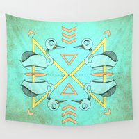 swan Wall Tapestries featuring Aztec swan by AmDuf