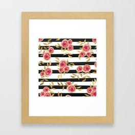 Girly Modern Pink Gold Flowers Black White Stripes Gerahmter Kunstdruck