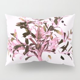 Little olive tree with pink tones on a white background Pillow Sham