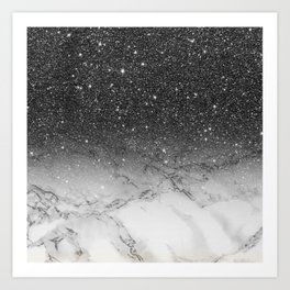 Stylish faux black glitter ombre white marble pattern Art Print