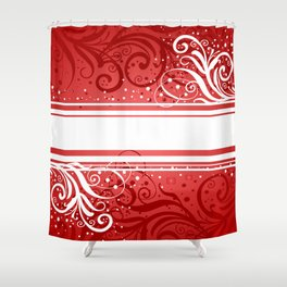 Abstract red-white background Shower Curtain