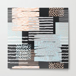 Modern abstract overlapping geometric shapes pattern Metal Print