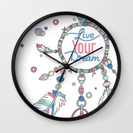 Live Your Dream Dream Catcher - Pastel Colors Wall Clock