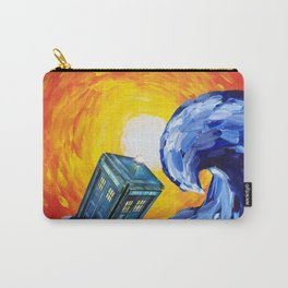 Tardis and a Great Wave Carry-All Pouch