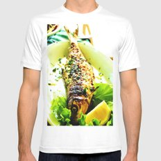 Lunch MEDIUM White Mens Fitted Tee