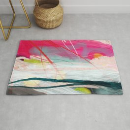 abstract landscape with pink sky over white cloud mountain Rug