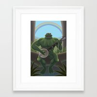 muppet Framed Art Prints featuring A Very Manly Muppet by Crystal Kan