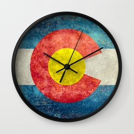 Colorado State Flag in Vintage Grunge Wall Clock
