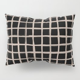 Strokes Grid - Nude on Black Pillow Sham