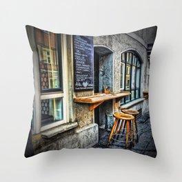 Cafe Stools Throw Pillow