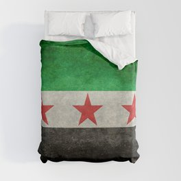 Independence flag of Syria, in grungy vintage style Duvet Cover
