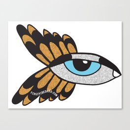 Turquoise & yellow Eye with wings Canvas Print