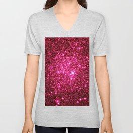 Hot Pink Glitter Galaxy Stars Unisex V-Neck