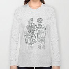 Geometric Japanese Black and White Linework Love couple Long Sleeve T-shirt