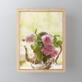 Pink English Roses in a silver Pot- Vintage Rose Stilllife Photography Framed Mini Art Print