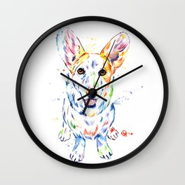 Corgi Watercolor Painting Pet Portrait Wall Clock