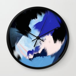 Back to You: an abstract, mixed-media piece in blues by Alyssa Hamilton Art Wall Clock