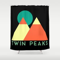 twin peaks Shower Curtains featuring Twin Peaks by Victor Velocity