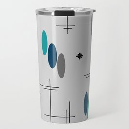Ovals and Starbursts Teal Travel Mug
