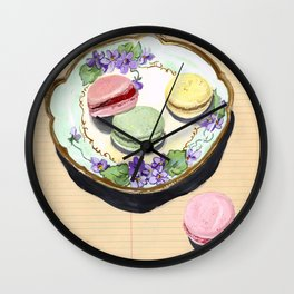 Macarons on an Antique Plate in Gouache Wall Clock