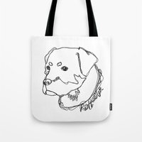 rottweiler Tote Bags featuring Rottweiler #1 by Just Like A Breeze