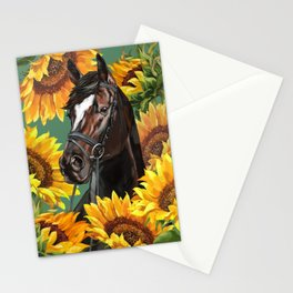 Horse with Sunflowers Stationery Cards