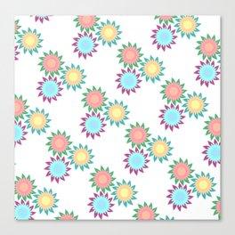 Watercolor Stroke Flower Pattern Canvas Print