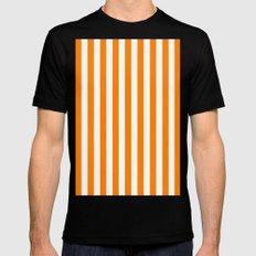 Vertical Stripes (Orange/White) Mens Fitted Tee MEDIUM Black