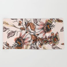 Tropical drawings of pasiflora flowers Beach Towel
