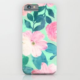 Girly Pink & Teal Floral Hand Paint Mint Design iPhone Case
