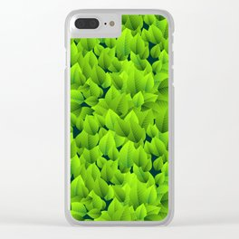 Green leaves pattern Clear iPhone Case