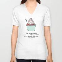 snl V-neck T-shirts featuring Frozen Yogurt by Liana Spiro