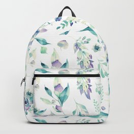 Modern jade green lavender watercolor floral Backpack