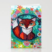 tatoo Stationery Cards featuring tatoo fox by oxana zaika