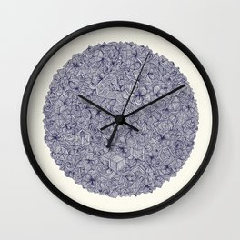 Held Together - a pattern of navy blue doodles Wall Clock