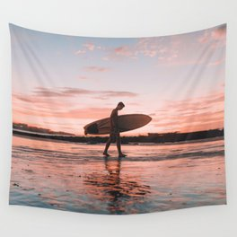 Surfer At Sunset Wall Tapestry