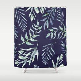 Floating Leaves Blue 2 #society6 #buyart Shower Curtain