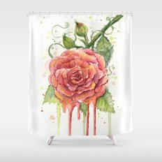 Red Rose Dripping Watercolor Flower Shower Curtain