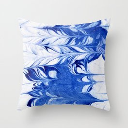 Shigeo - spilled ink abstract painting marble marbling india ink indigo blue bright modern minimal   Throw Pillow
