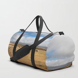 A Day on the Prairie - Round Hay Bales on Golden Landscape in South Dakota Duffle Bag